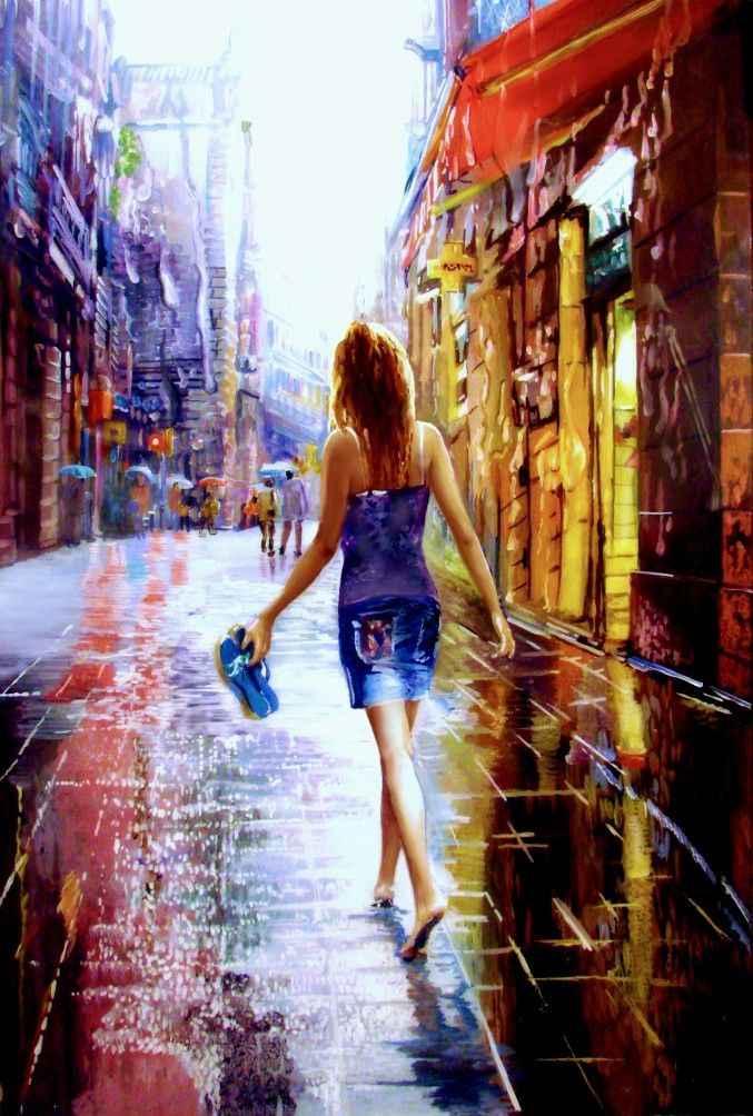 Entering the rain, the second, Daria chacheva, painting, city, rain, a girl walks barefoot through the city, 606 views