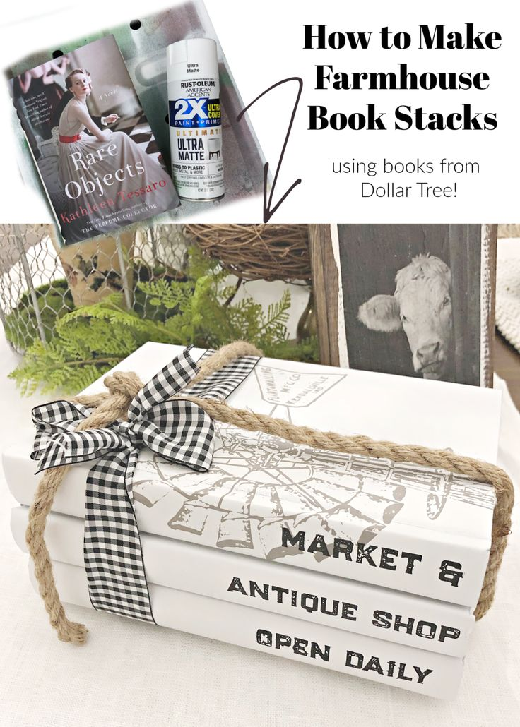 White painted book stacks are the perfect addion to your Farmhouse decor. These were easy to DIY with just spray paint a…