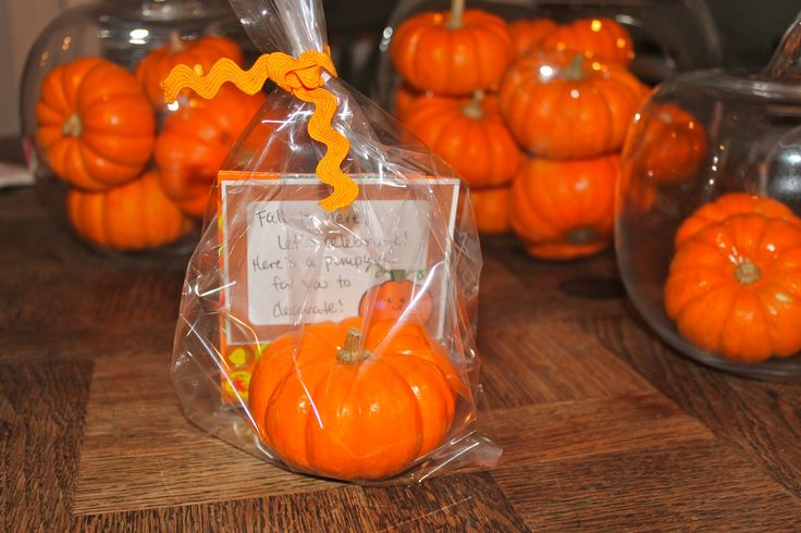 """School Fall Party Favor!  Mini Pumpkin and sheets of fall stickers to decorate it with.  Tag says: """"Fall is here, Let's celebrate!  Here's a pumpkin to decorate!"""""""