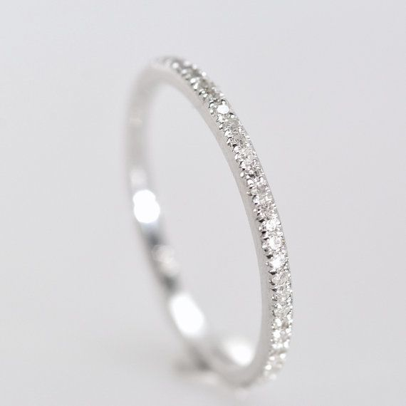 This, plus wedding band plus promise ring = perfection  Wedding Band diamond band 15 mm 14K White Gold by AllSapphires, $340.00