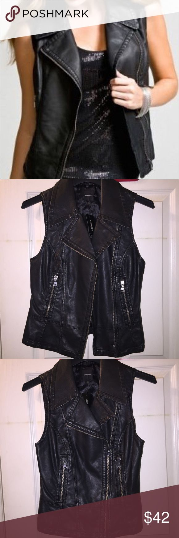 "NWT Express Moto Vest 🌼Black faux leather                                                                                   🌼Silver zippers                                                                        🌼Brand new w/ tags, Never worn                                     *Please ask any questions you may have before purchasing* 10% OFF 2+ ITEMS - USE THE ""ADD TO BUNDLE"" FEATURE !!! Express Jackets & Coats Vests"