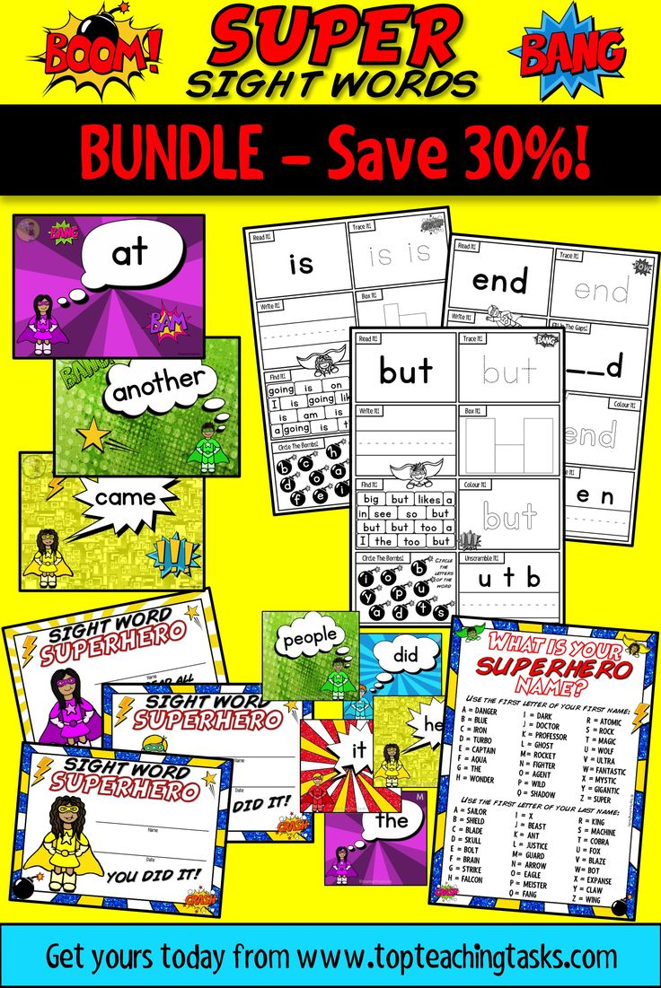"This Super Sight Words Bundle features activity sheets, PowerPoint slides and fluency cards for the Magenta-Green levels of the colour wheel. It also features celebratory certificates and a bonus ""What's Your Superhero Name?"" classroom activity!"