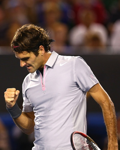 Roger Federer after his win over Tsonga. #perfection :)