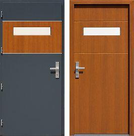 Drzwi wejściowe inox   z szybą 421,1-421,11 w kolorze dwukolorowe: antracyt + złoty dąb