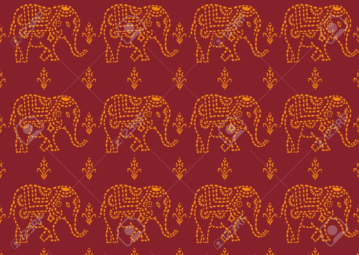 Seamless Red And Yellow Indian Elephant Wallpaper Royalty Free ...