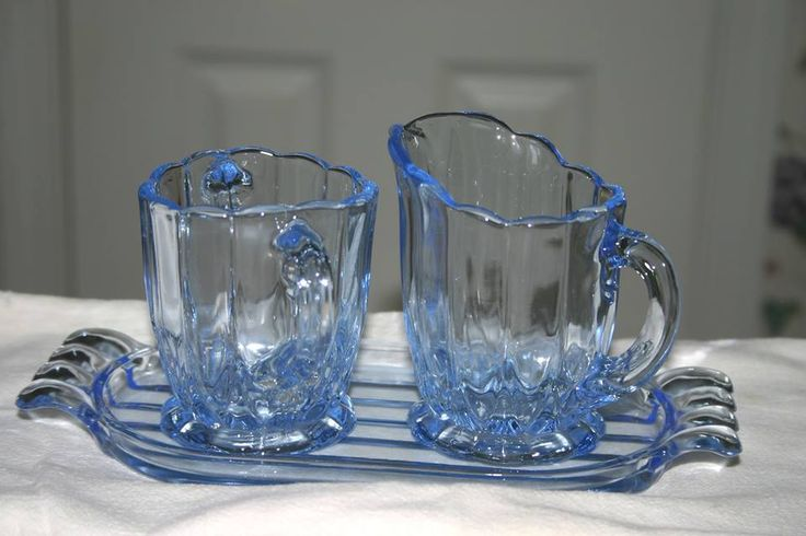 New Martinsville Janice Elegant Depression Glass Blue Creamer, Sugar and Tray from Donna