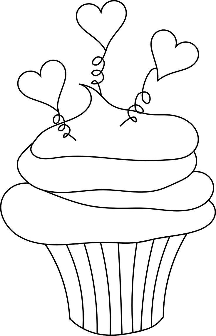 Digital Free Digi Stamps | Free Valentine's Day Digital Stamp - Cupcake with Hearts Free Digital ...