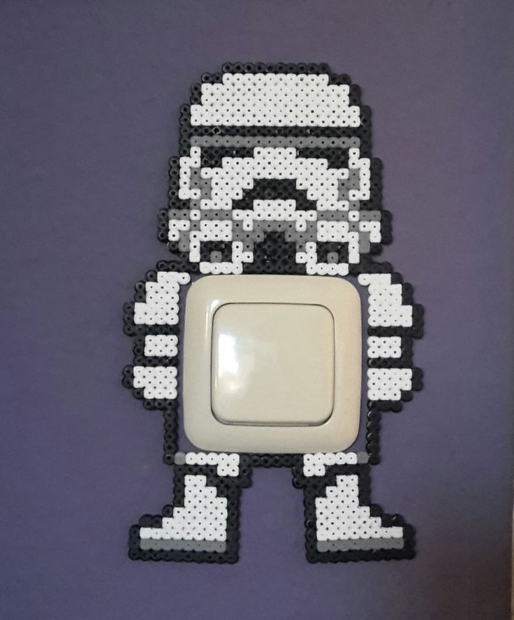 Star Wars Stormtrooper/switch light cover hama perler beads/by bianca jung