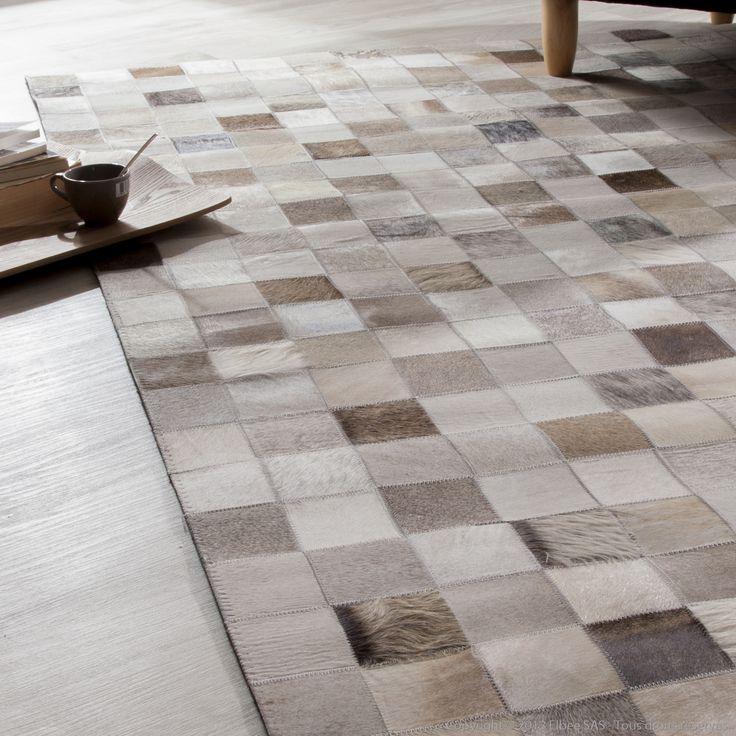 Tapis 100 cuir motifs carreaux effet patchwork kimia modern and patchwork - Tapis cuir patchwork ...