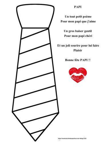 """.. Cravate en playmais + poème """"bonne fête papi """""""