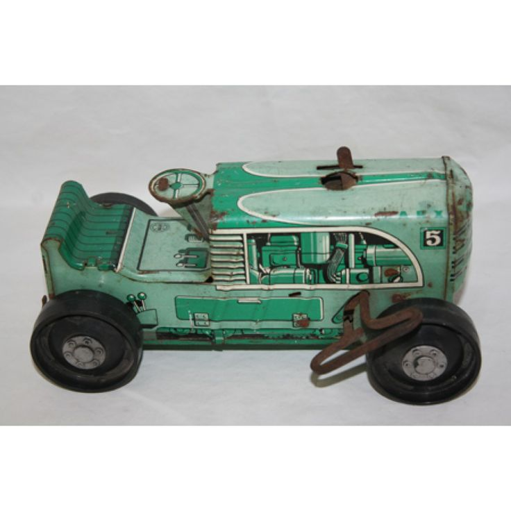 1950 S Marx 5 Green Tractor Wind Up Tin Litho Vintage
