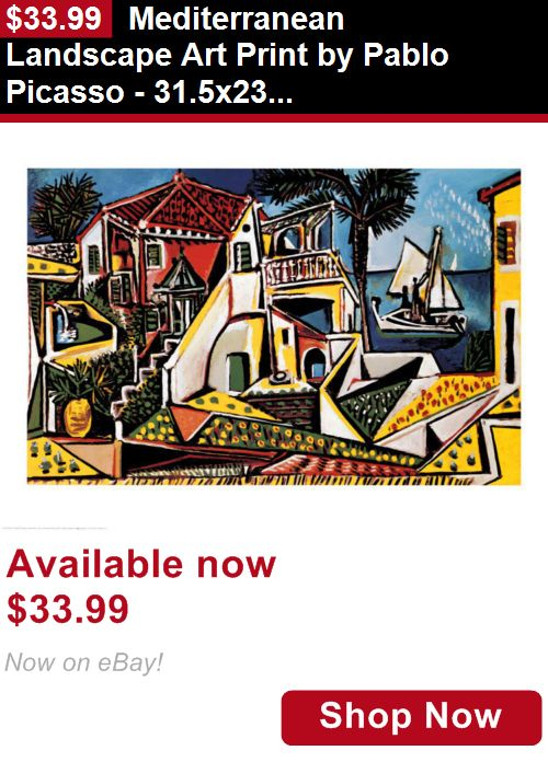 Print art: Mediterranean Landscape Art Print By Pablo Picasso - 31.5X23.5 BUY IT NOW ONLY: $33.99