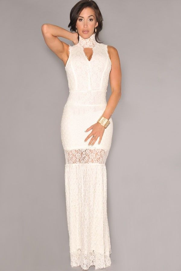 Vestido Branco Longo de Renda de Gola Alta Frente