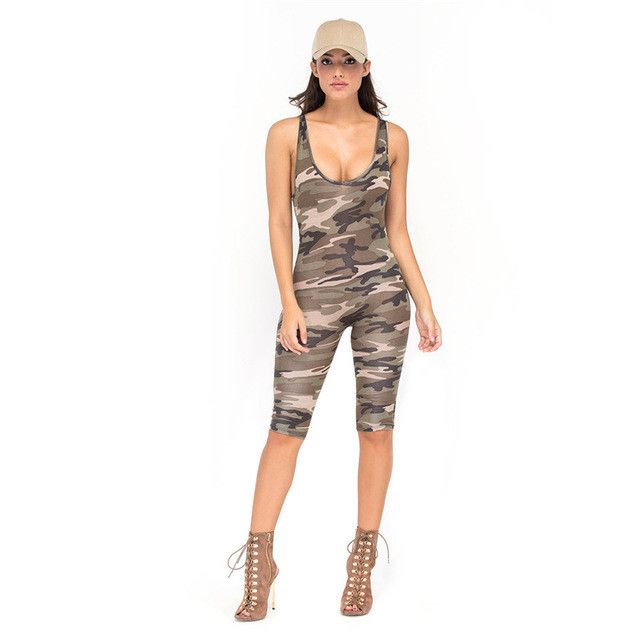 Camouflage Jumpsuit Overalls Sexy Bodysuit Backless Rompers Womens Bodycon Overalls For Women Plus Combinaison Femme Playsuit