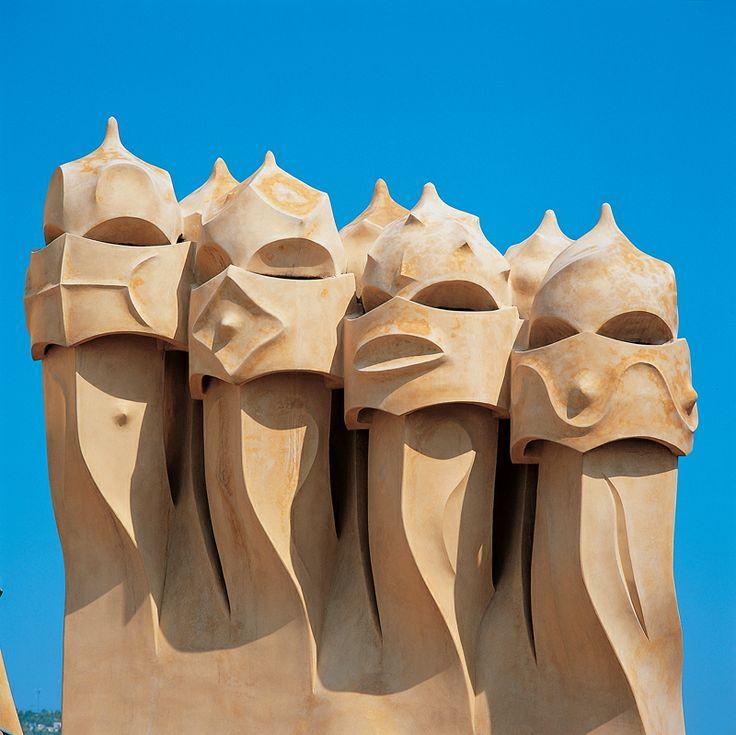 The chimneys of La Pedrera Barcelona designed