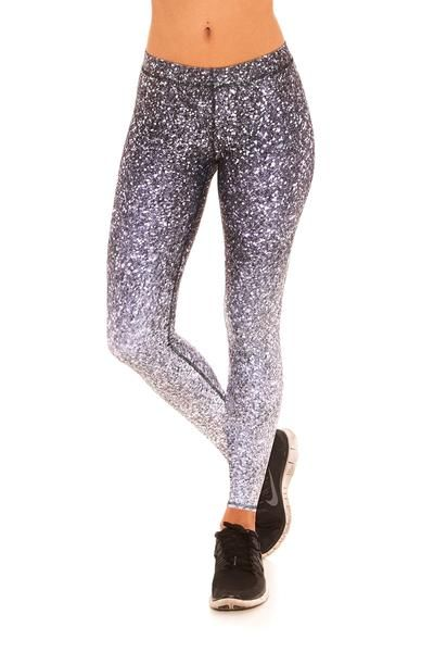 Womens Black and White Glitter Performance Leggings  #yoga #yogini #sparkles