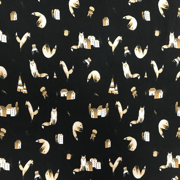 Souple et fluide, cette viscose imprimée de renards sur fond noir ajoute une touche  à la fois élégante et malicieuse. Idéal pour la conception de tenues amples et légères :  jupe, robe, pantalon, haut, tunique et blouse, ce coupon de tissu est également adapté au vestiaire adulte et enfant.