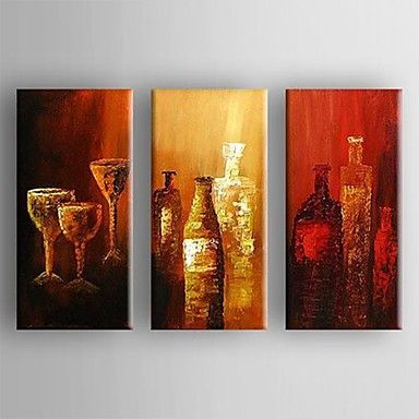 Oil Painting Modern Abstract  Set of 3 Hand Painted Canvas with Stretched Framed – USD $ 129.99
