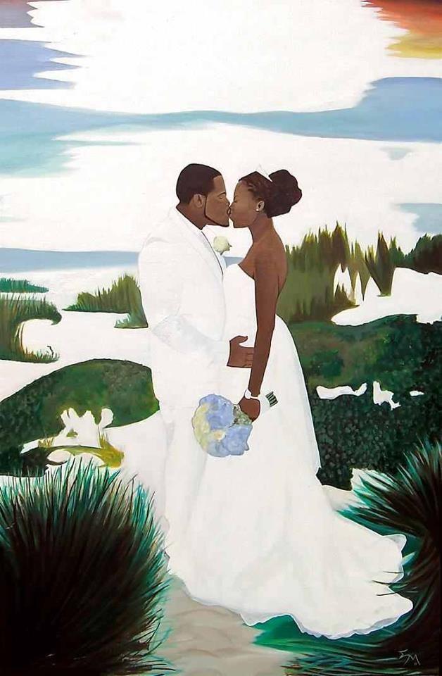 Black Art African American Loving Couple Wedding Day