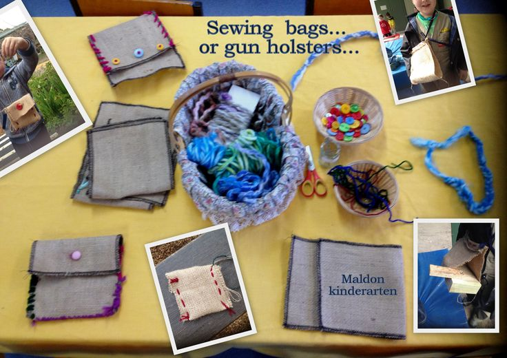 Learning to sew using darning needles, wool and hessian. We started out making bags but some children had children their own ideas! Love it!