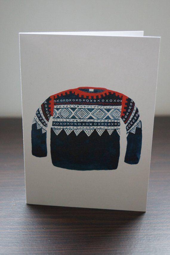 Norwegian Marius Sweater Recycled Greeting Card Scandinavian Mariusgenser