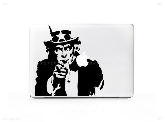 Uncle Sam USA We want you Sticker Decal for Mac Laptops - PC, iPad & iPhone Versions Available too.