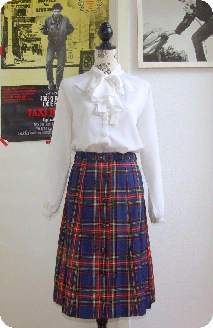 Vintage Rock 70er Faltenrock Skirt Jupe Mod Plisseerock Tartan Plaid Pleats Blau | Kleidung & Accessoires, Vintage-Mode, Vintage-Mode für Damen | eBay!