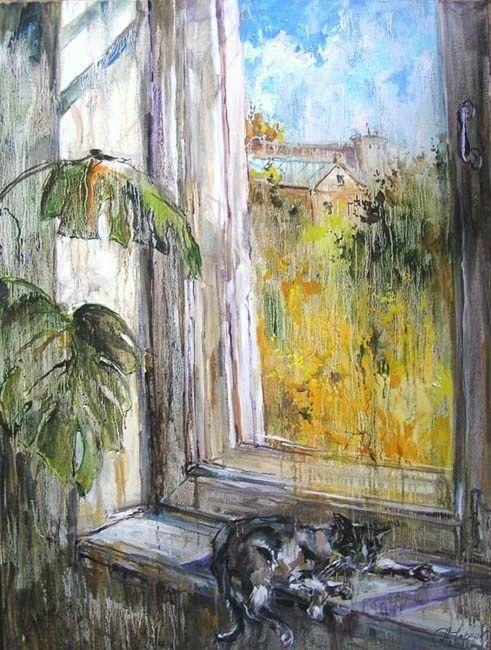 Анна Чарина. Осеннее солнце. Окно с котом и монстерой.jpg