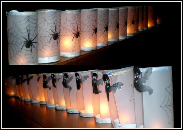 Halloweeni lámpások pauszpapirból és sajtos dobozból