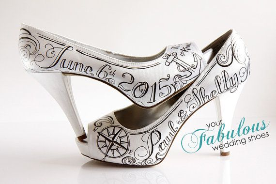 Tie The Knot Wedding Custom Shoes Nautical by buttonzandbloomz