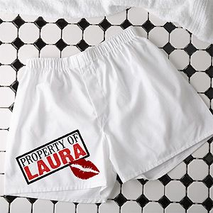 "Personalized ""Sealed With A Kiss"" Boxers - these are so cute! Great Valentine's Day gift idea for your boyfriend or husband!"
