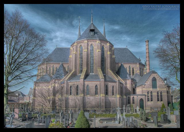 East-side of the St. Janschurch, Kaatsheuvel, North-Brabant, The Netherlands.