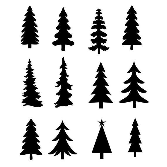Christmas Tree Evergreen Clipart Silhouettes Eps Dxf Pdf Png Svg Files Plasma Cnc Christmas Tree Clipart Christmas Tree Drawing Christmas Tree Silhouette