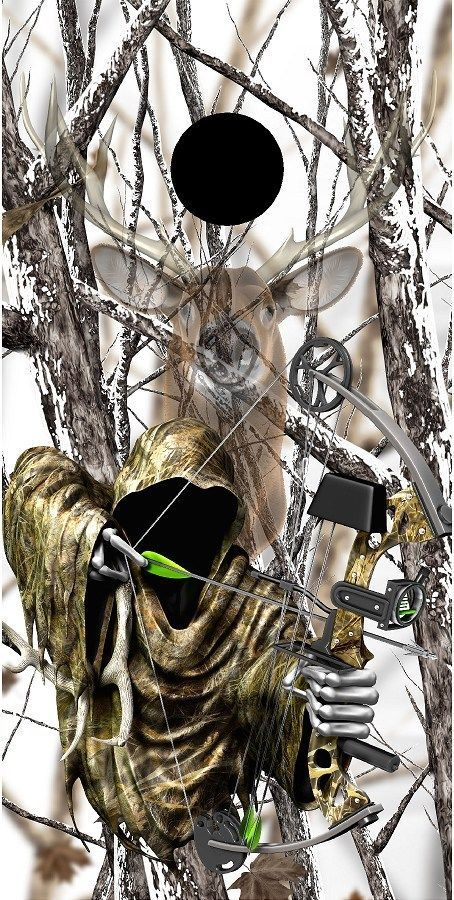 Grim reaper bow hunting deer snow camouflage cornhole game decal wraps