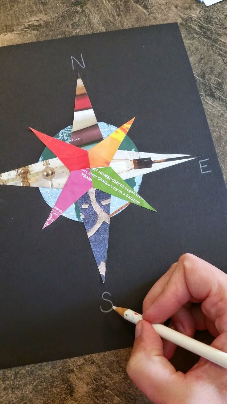 FREE compass rose craftivity template, all you need is old magazines