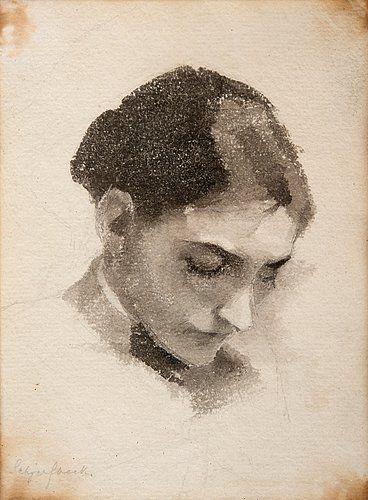 Хелене Шерфбек 1862-1946 GIRLS портрет. (D) Войдите. Акварель 16x11, 5 см.