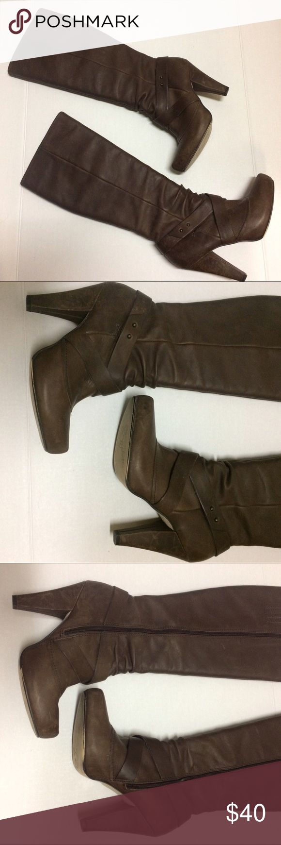"""Seychelles Brown Leather Boots, Size 9 Seychelles Brown Leather Boots with platform in Size 9. Total height is 19.5"""", 7.25"""" wide across top, heel is 4"""". Heels show some wear (see pictures) but boots have a distressed look. Bought new but only worn a few times. Seychelles Shoes Heeled Boots"""