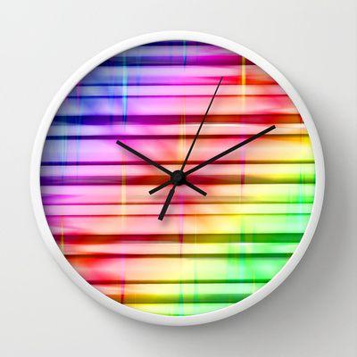 Multicoloured Stripes 3 Wall Clock by Christine baessler - $30.00