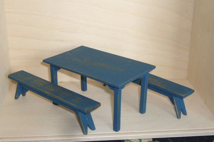 Dollhouse country table with benches