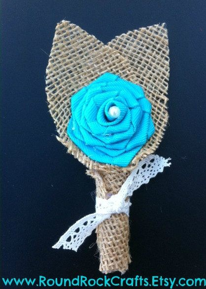 Burlap Boutonniere  Ribbon Rose with Burlap by RoundRockCrafts, $8.00