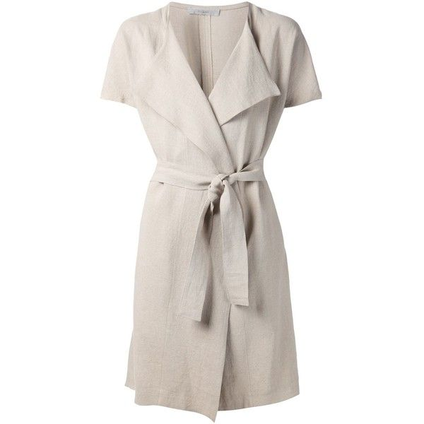 Dusan belted short sleeve coat ($1,410) ❤ liked on Polyvore featuring outerwear, coats, belted coat, short sleeve coat, pink coat and linen coat