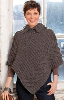 Free+Knitting+Pattern+-+Women's+Ponchos:+Cabled+&+Collared+Poncho