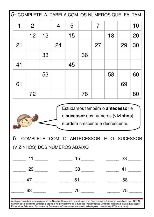 Avaliação de matemática adaptada