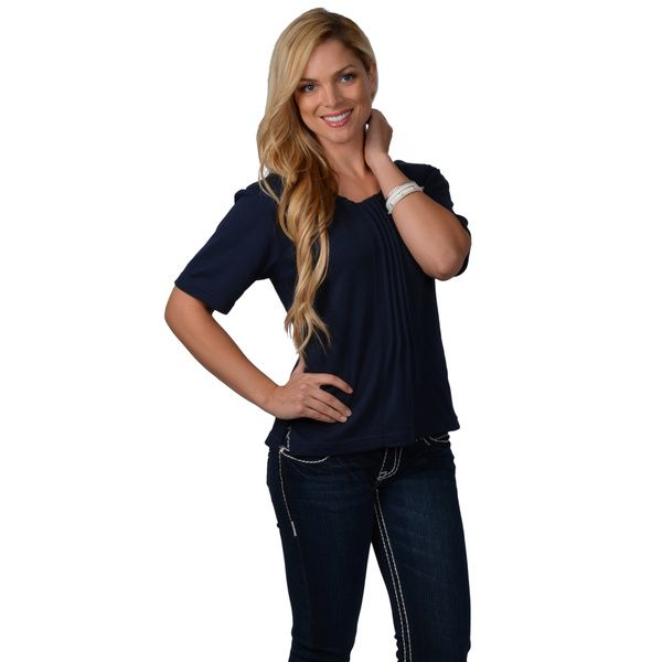 Nicole Ricci Women's Pleated-front Top - Overstock™ Shopping - Top Rated Nicole Ricci Short Sleeve Shirts