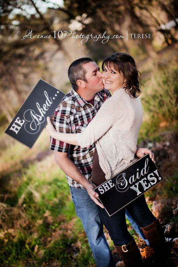 Wedding Photo Prop He Asked She Said Yes Engagement Shoot Day Mr And Mrs Signs On Etsy 36 95 Ideas Pinterest