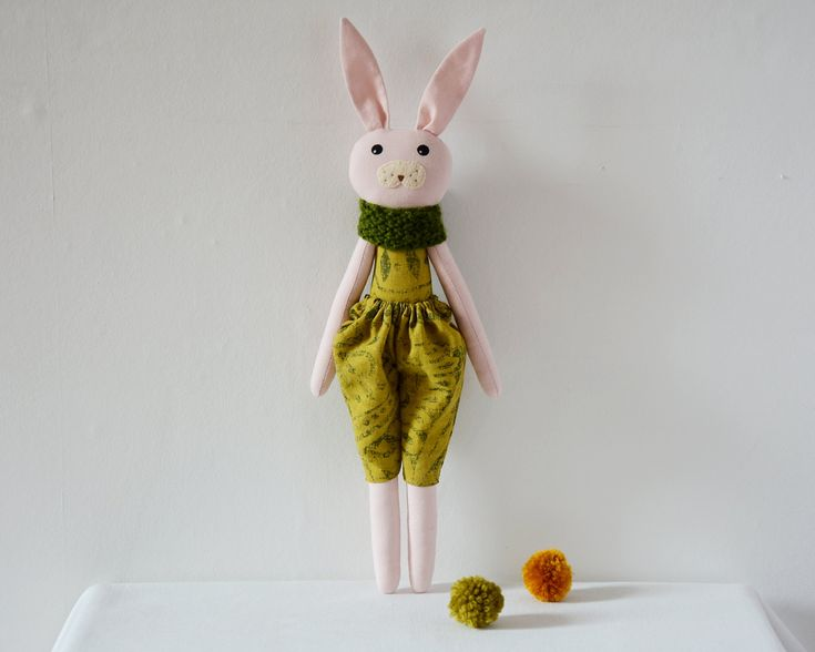 This beautiful, sweet pink and green bunny rabbit soft toy is a perfect gift for kids!It's handmade with care and carries a CE certificate.Its bunny face has been hand painted with non-toxi...