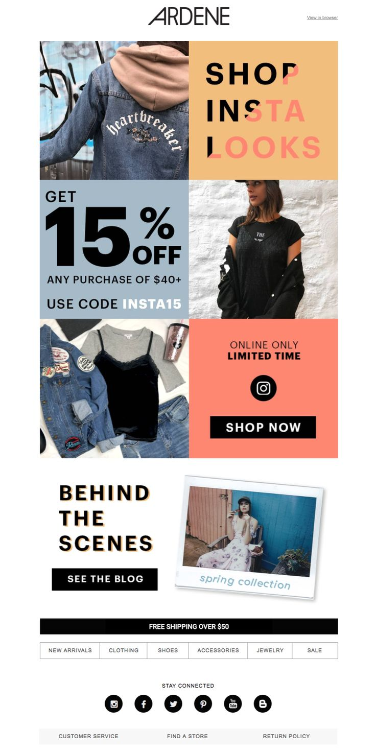 Ardene keeps it simple with big colour blocks and chunky fonts.