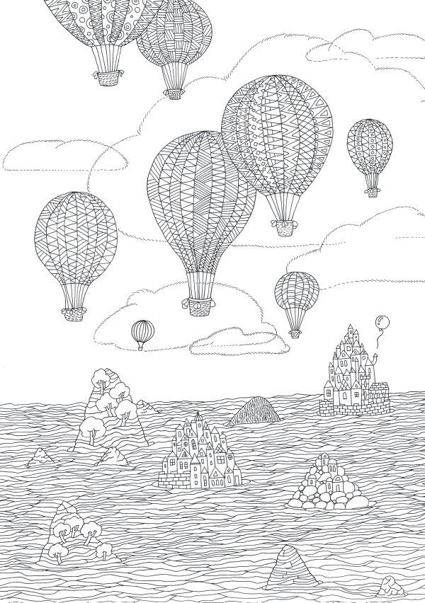 Воздушные шары из раскраски «Острова»