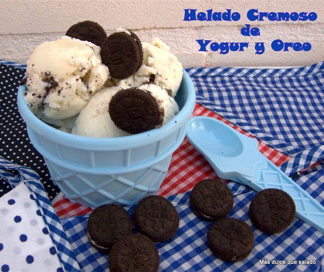 Delicioso helado de yogur con galletas oreo. Supercremoso, refrescante, adictivo....Por ahora es el helado favorito de la familia. No te lo puedes perder!!!