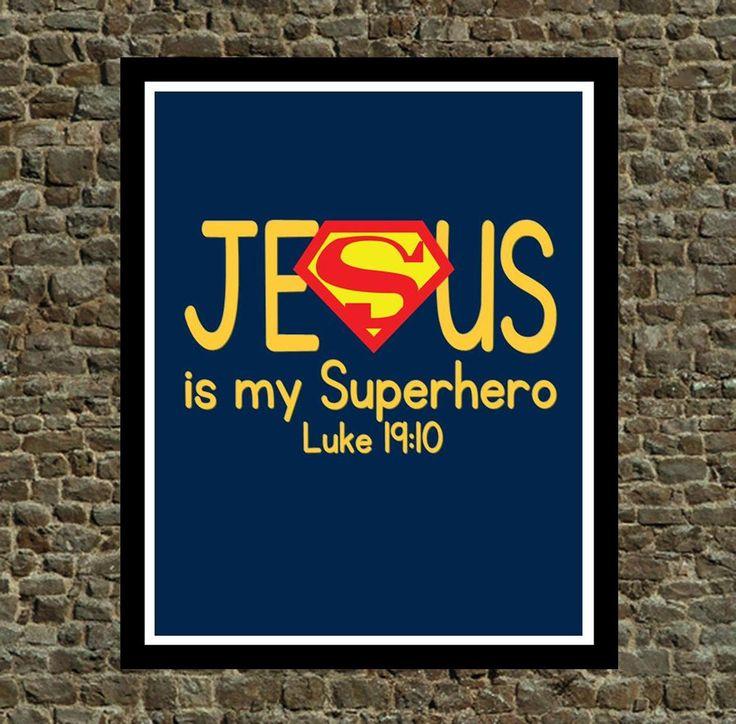 Superh Hero Wall Art - Jesus is my Superhero - Christian Wall art Superman Nursery Decor by PixiePaperSTL on Etsy